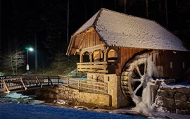 Preview wallpaper Mill, night, creek, snow