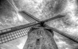 Preview wallpaper Mill, sky, clouds, black and white picture