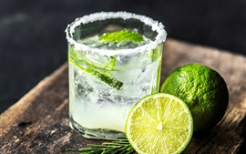 Preview wallpaper Mojito, lime, drink, glass cup, cold