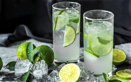 Preview wallpaper Mojito, two glass cups, drinks, limes, ice cubes
