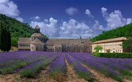 Monastery, lavender, clouds