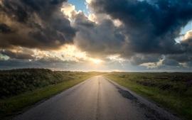 Mañana, camino, hierba, salida del sol, nubes