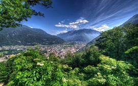 Mountains, city, trees, Bellinzona, Switzerland