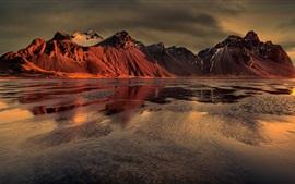 Preview wallpaper Mountains, lake, dusk