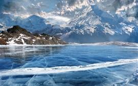 Montanhas, neve, lago, gelo, inverno