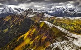 Montanhas, neve, inverno, vista superior, alpes