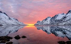 Горы, снежные, река, красное небо, закат