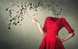 Música, falda roja, manos, imagen creativa