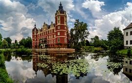 預覽桌布 穆斯考城堡,池塘,浮萍,德國