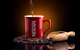 Preview wallpaper Nescafe, coffee, coffee beans, red cup