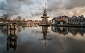 Preview wallpaper Netherlands, Haarlem, river, windmill, houses, boats