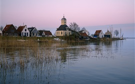 Preview wallpaper Netherlands, church, houses, boats, grass, river