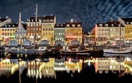 Holanda, cidade, barcos, rio, noite, luzes