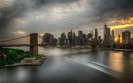 Nueva York, Brooklyn, Estados Unidos, puente, río, rascacielos, nubes, atardecer