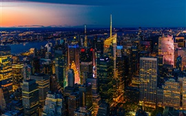 Preview wallpaper New York, night view, panorama, skyscrapers, lights, USA