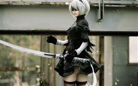 Nier: Automata, cosplay girl, sword, YoRHa No.2 Type B