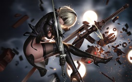 Preview wallpaper Nier: Automata, girl, sword, fight