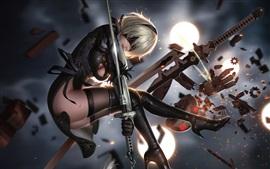 Nier: Autômato, garota, espada, luta