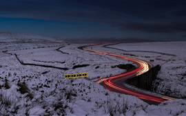 Preview wallpaper Night, road, light lines, snow, winter