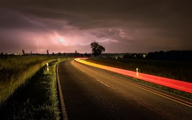 Preview wallpaper Night, road, lightning