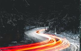 Noite, estrada, neve, linhas de luz, árvores, inverno