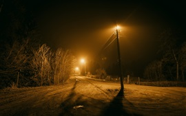 Night, road, trees, lights