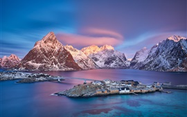 Preview wallpaper Norway, Lofoten Islands, village, sea, mountains, snow, dusk