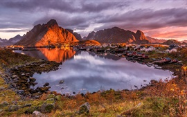 Preview wallpaper Norway, Lofoten, houses, mountains, clouds, bay, lake, dusk