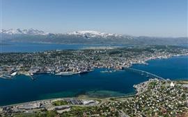 Preview wallpaper Norway, Tromso, city top view, bridge, sea