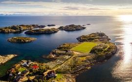 Noruega, estadio de fútbol, mar, costa