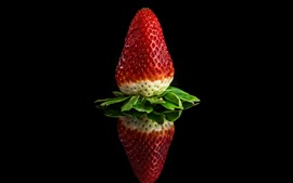 Preview wallpaper One strawberry, black background, reflection