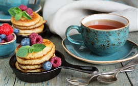 Preview wallpaper Pancakes and tea, food