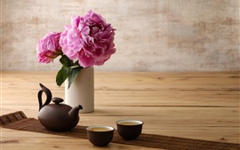 Preview wallpaper Peony, pink flowers, cup, kettle, tea
