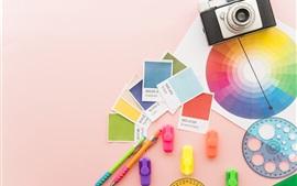 Fotos, bolígrafos, blanco colorido, arcoiris