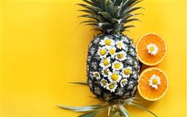 Aperçu fond d'écran Ananas, orange, fleurs de camomille, fruits