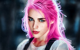 Pink hair girl, freckles, look, backlight