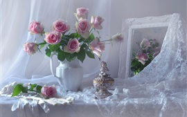 Preview wallpaper Pink roses, vase, statue, mirror