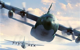 Preview wallpaper Plane flight, military aircrafts, art picture