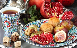 Preview wallpaper Pomegranate, candy, figs, tea