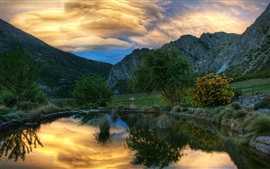 Preview wallpaper Pond, trees, mountains, goats, sunset