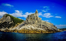 Preview wallpaper Portovenere, sea, castle, island, blue sky