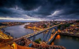 Portugal, porto, ponte, rio, cidade, noturna, luzes