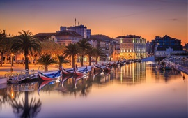 Preview wallpaper Portugal, city, river, boats, trees, houses, lights