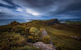 Puponga, Tasman, Nueva Zelanda, mar, nubes