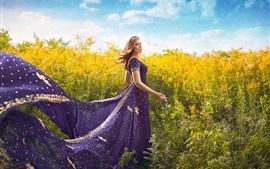 Preview wallpaper Purple skirt girl, plants
