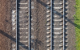 Preview wallpaper Railroad, stones, top view