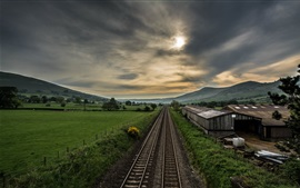 Preview wallpaper Railroad, village, fields, clouds, dusk