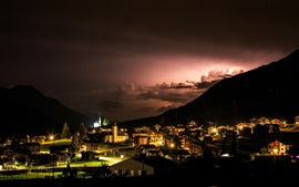 Preview wallpaper Reckingen-Gluringen, Switzerland, village, night, lights