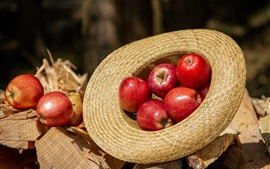 Maçãs vermelhas, chapéu, sol