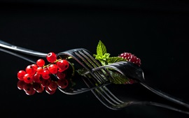 Preview wallpaper Red currants, fork, black background